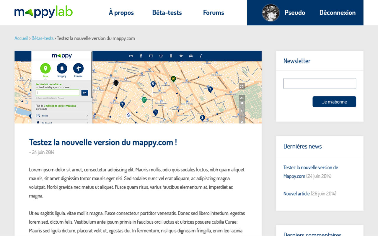 Mappy Le Lab - exemple écran